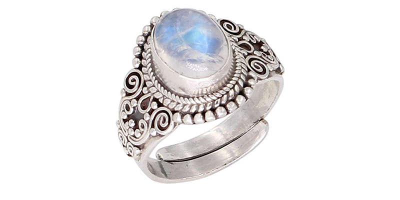 Anillo ajustable de piedra lunar y plata de ley LUNA AZURE comprar precio precios baratos barato comrar oferta ofertas