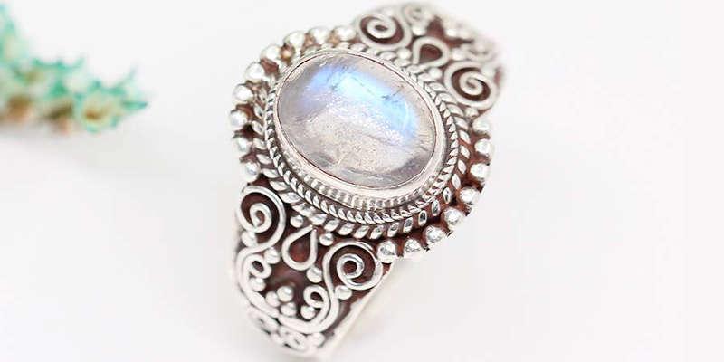 Piedra lunar adulara auténtica del anillo de LUNA AZURE barato baratos precio precios comprar oferta ofertas